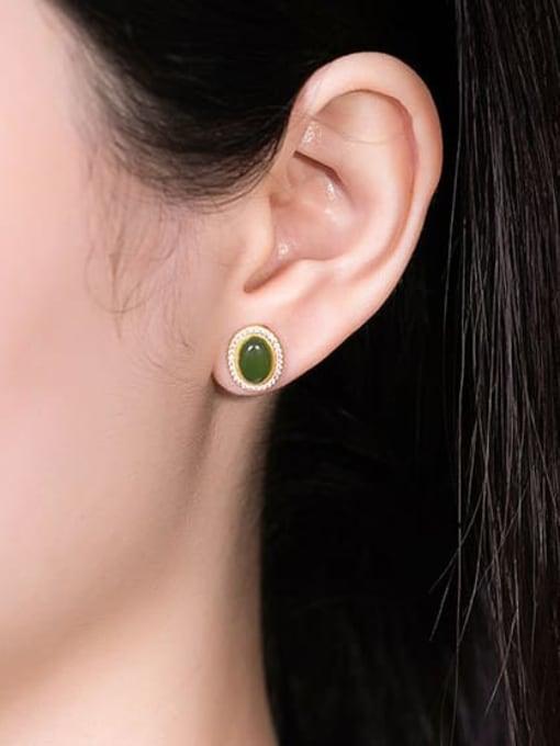 DEER 925 Sterling Silver Jade Oval Vintage Stud Earring 1
