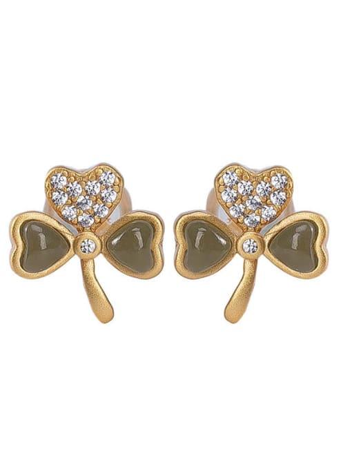 DEER 925 Sterling Silver Jade Clover Cute Stud Earring 3