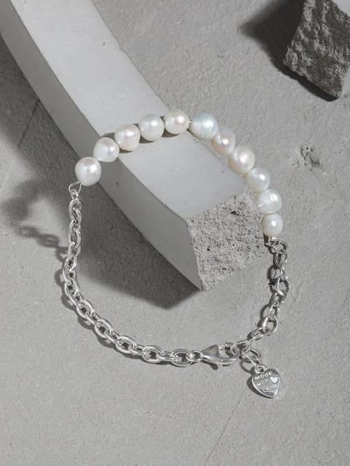DAKA 925 Sterling Silver Imitation Pearl Geometric Vintage Link Bracelet 1