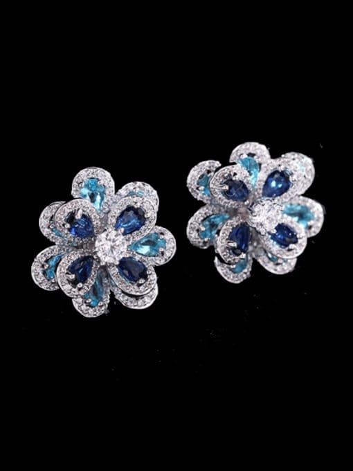 Platinum+ blue Brass Cubic Zirconia Flower Trend Stud Earring