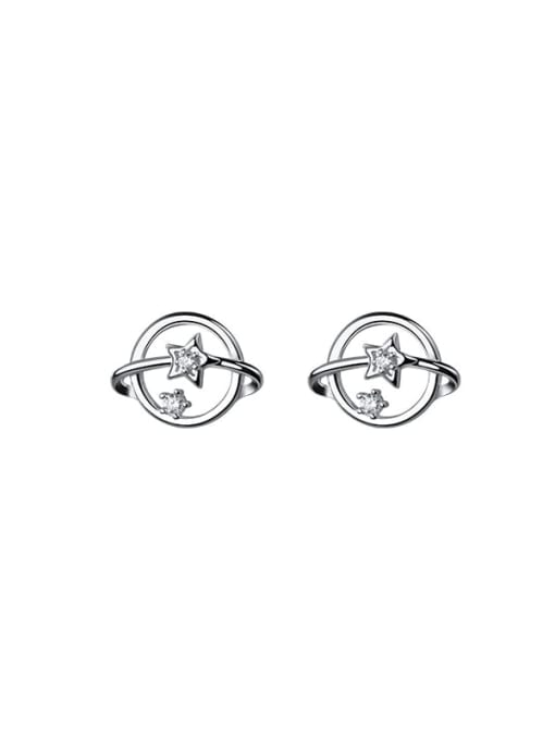 Rosh 925 Sterling Silver Cubic Zirconia Round Vintage Stud Earring 4