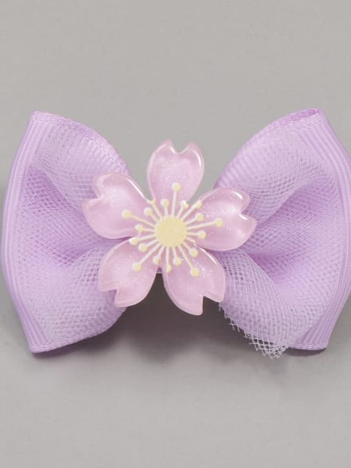 11 Cherry Blossom Purple Bow Alloy Yarn Cute Bowknot  Multi Color Hair Barrette
