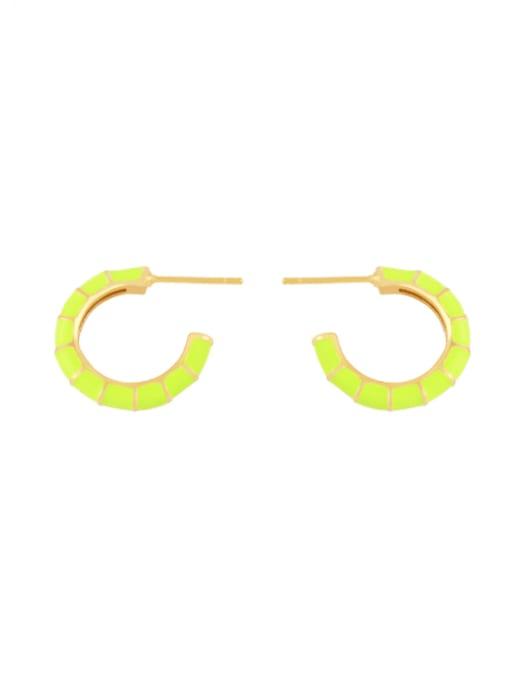 yellow Brass Enamel Geometric Minimalist Stud Earring