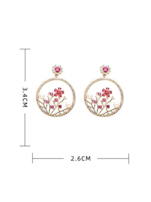 Luxu Brass Cubic Zirconia Flower Trend Drop Earring 3