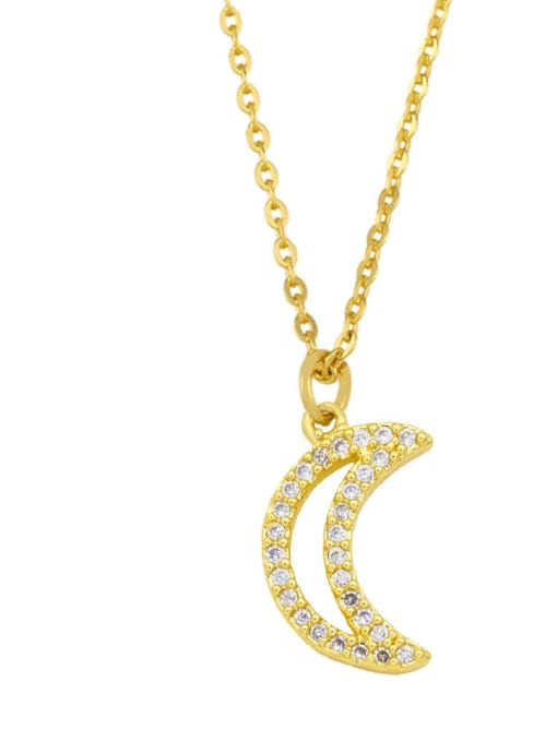 D Brass Cubic Zirconia Moon Minimalist Necklace