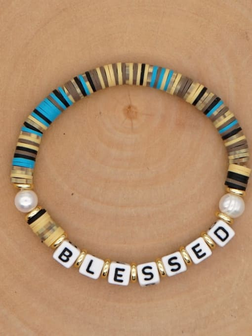 QT B200146H Stainless steel Freshwater Pearl Multi Color Polymer Clay Letter Bohemia Handmade Weave Bracelet