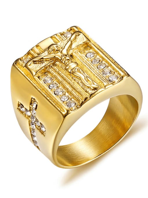 CONG Titanium Steel Geometric Vintage Band Ring