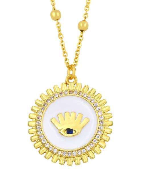 white Brass Rhinestone Enamel Round Hip Hop Necklace