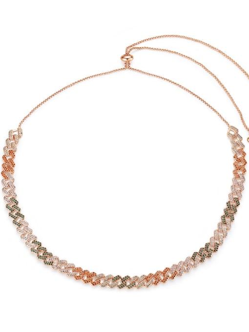 BLING SU Copper Cubic Zirconia Geometric Luxury Necklace
