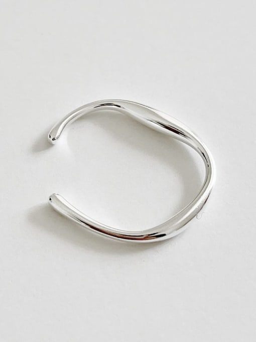Boomer Cat 925 Sterling Silver Irregular Line Minimalist Band Ring 2