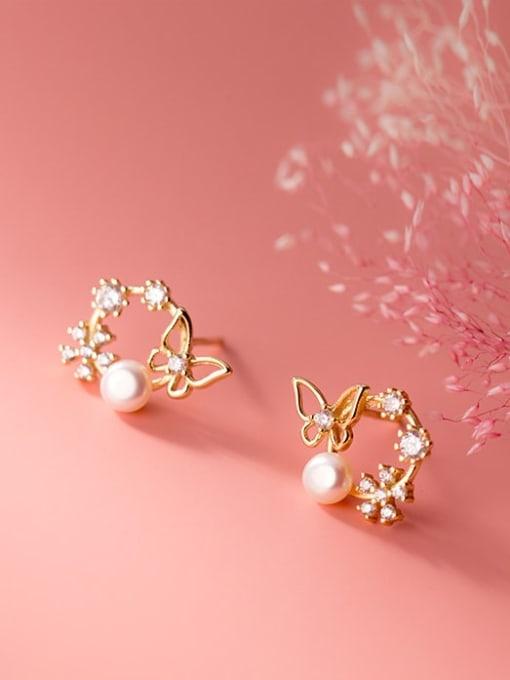 Rosh 925 Sterling Silver Rhinestone Flower Dainty Stud Earring 3