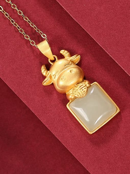 Hotan jade Pendant 925 Sterling Silver Jade Cute Zodiac Cow Pendant