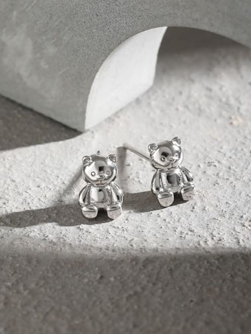 DAKA 925 Sterling Silver Smooth Bear Cute Stud Earring 1