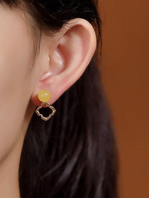 DEER 925 Sterling Silver Amber Flower Cute Stud Earring 1