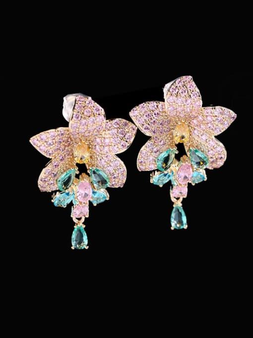 Blue Brass Cubic Zirconia Flower Luxury Cluster Earring