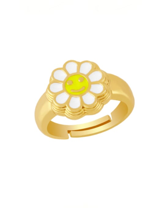 white Brass Enamel Smiley Vintage Band Ring