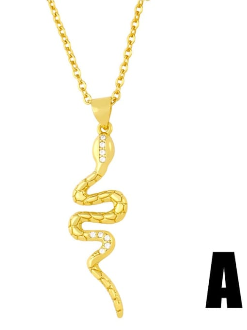 CC Copper Cubic Zirconia Snake Ethnic Necklace 1