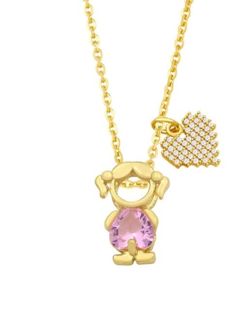 B (girl pink) Brass Cubic Zirconia Enamel Angel Cute Necklace