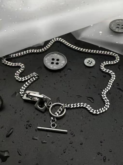 A TEEM Titanium Steel Heart Vintage Hollow Chain Necklace