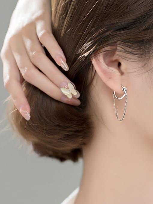Rosh 925 Sterling Silver Tassel Vintage Huggie Earring 2