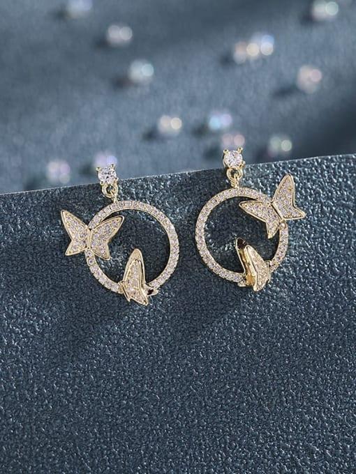 Luxu Brass Cubic Zirconia Butterfly Luxury Stud Earring 2