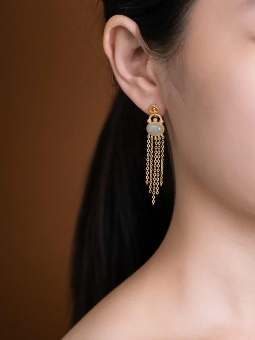 DEER 925 Sterling Silver Jade Tassel Vintage Drop Earring 1