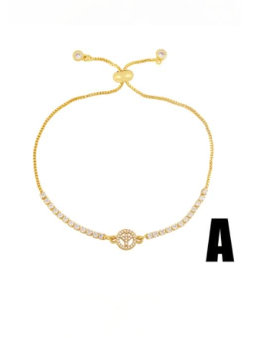 A Brass Cubic Zirconia Heart Vintage Adjustable Bracelet