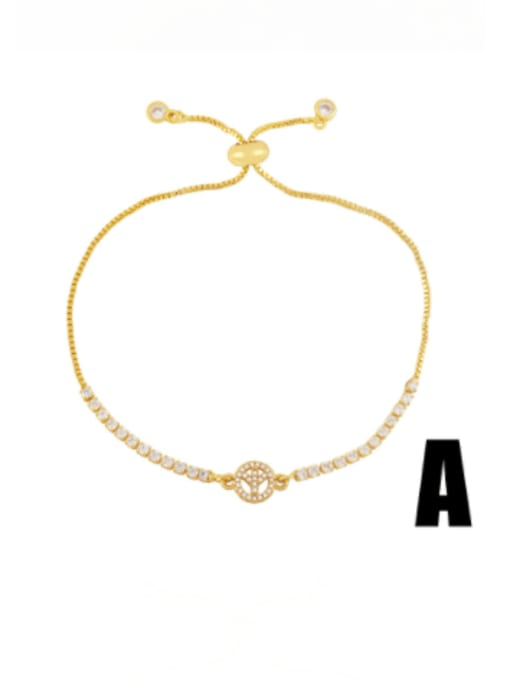 CC Brass Cubic Zirconia Heart Vintage Adjustable Bracelet