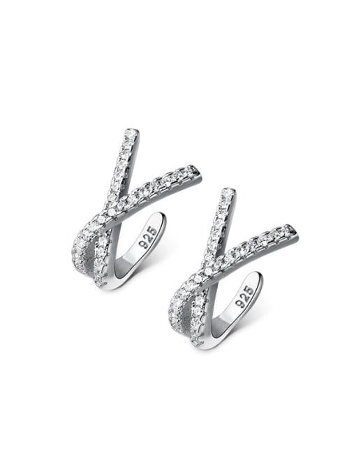 Rosh 925 Sterling Silver Rhinestone Cross Minimalist Stud Earring 0