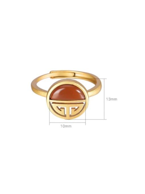 DEER 925 Sterling Silver Carnelian Geometric Vintage Band Ring 2