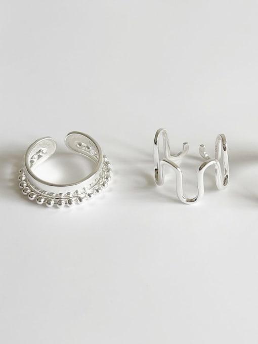 Boomer Cat 925 Sterling Silver Irregular Minimalist Band Ring 0