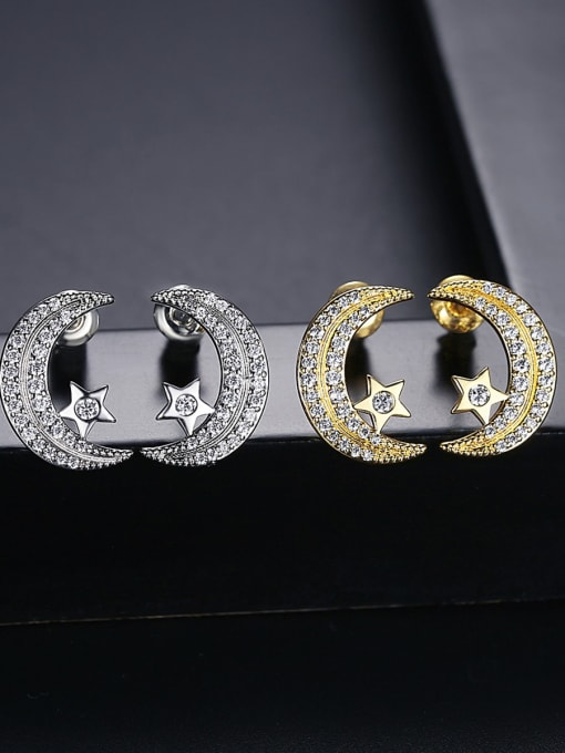BLING SU Copper Cubic Zirconia Moon Classic Stud Earring 3