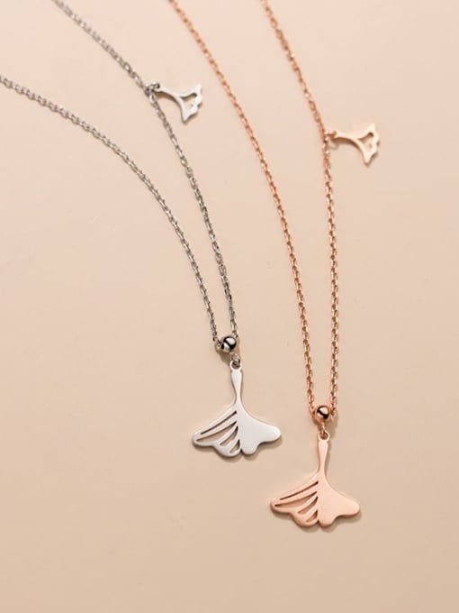 Rosh 925 Sterling Silver Hollow Tree Leaf Minimalist Necklace 2
