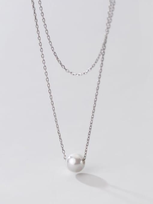 Rosh 925 Sterling Silver Imitation Pearl Round Minimalist Multi Strand Necklace