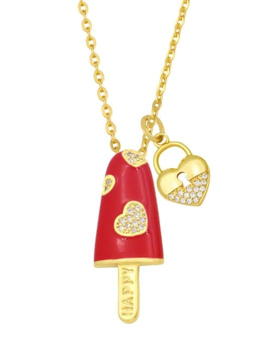 red Brass Cubic Zirconia Enamel Heart Minimalist Necklace