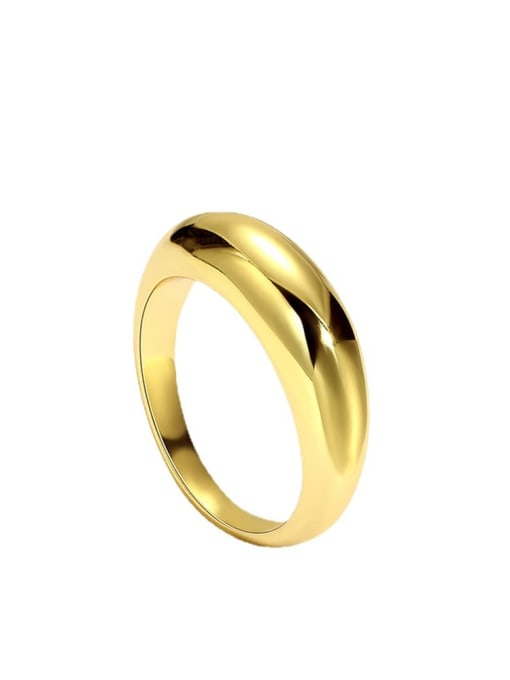 CHARME Brass Smooth Round Minimalist Band Ring 0