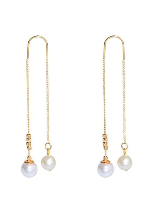 RAIN Brass Freshwater Pearl Tassel Minimalist Threader Earring 0
