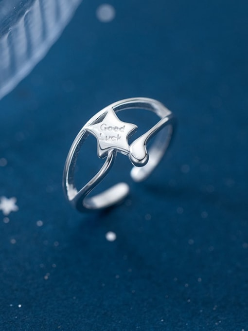 Rosh 925 Sterling Silver Star Minimalist Band Ring 2