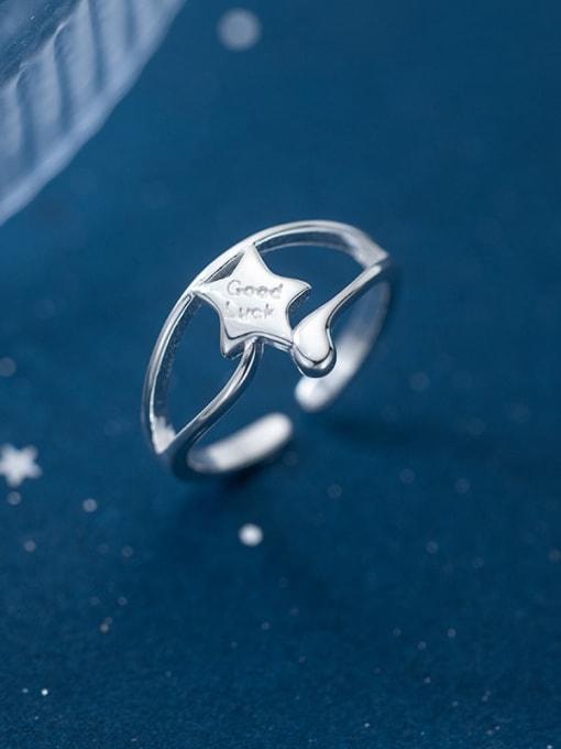 sliver 925 Sterling Silver Star Minimalist Band Ring