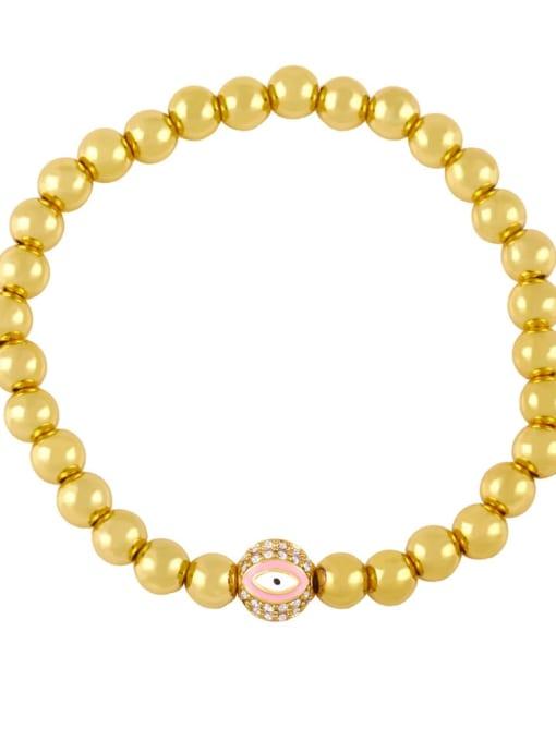 Pink eyes Brass Enamel Evil Eye Minimalist Beaded Bracelet