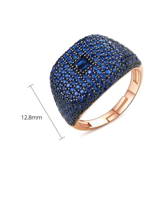 BLING SU Copper Cubic Zirconia Geometric Luxury Statement Ring 3