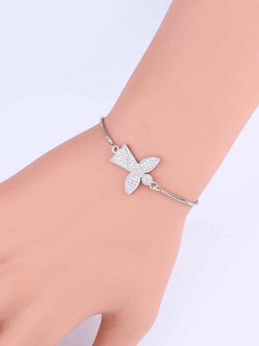 CC Brass Cubic Zirconia Angel Minimalist Link Bracelet 1