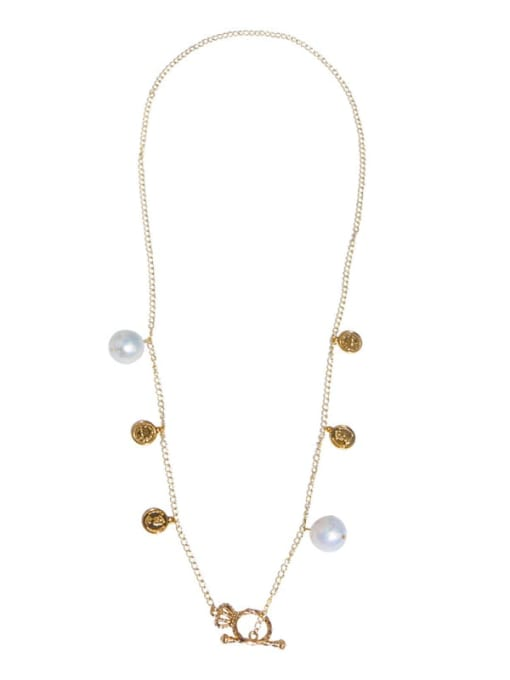 RAIN Brass Freshwater Pearl Coin Vintage Long Strand Necklace