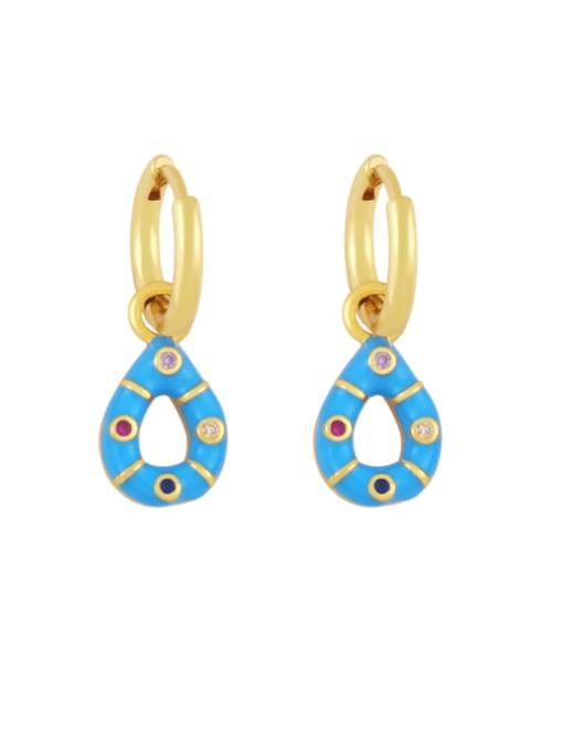 blue Brass Rhinestone Enamel Water Drop Vintage Huggie Earring