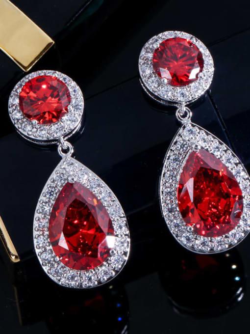 gules Brass Cubic Zirconia Water Drop Luxury Drop Earring
