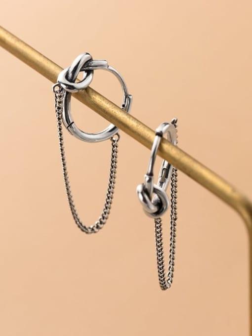Rosh 925 Sterling Silver Tassel Vintage Huggie Earring