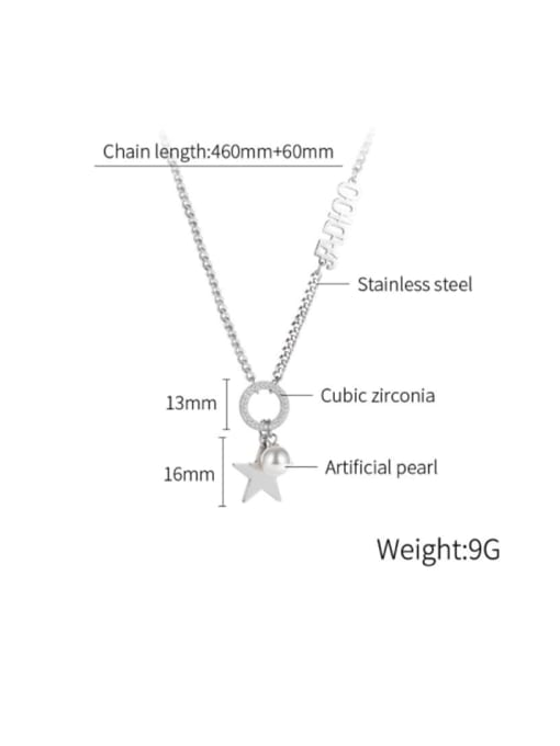 Open Sky Titanium Steel Imitation Pearl Letter Hip Hop Necklace 3