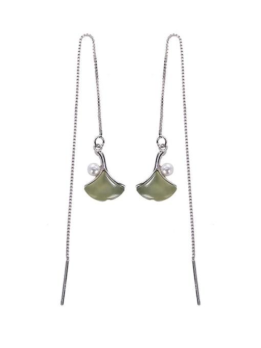 DEER 925 Sterling Silver Jade Geometric Minimalist Threader Earring 0