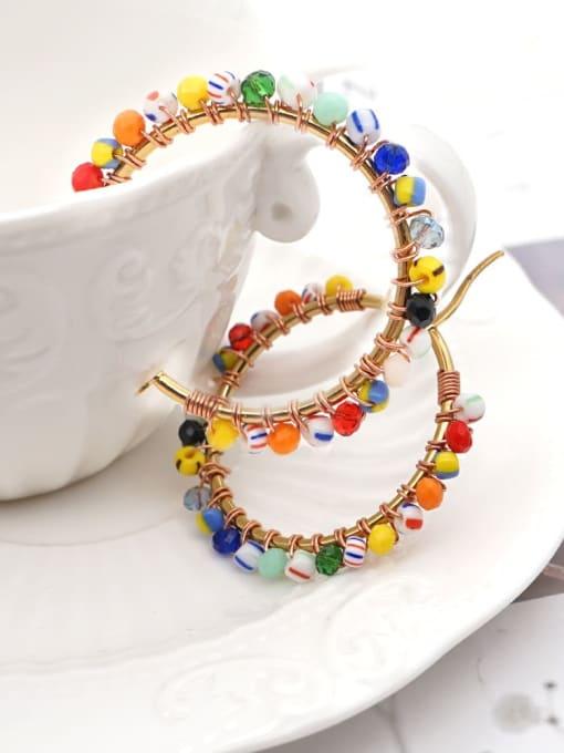 Roxi Stainless steel Bead Multi Color Geometric Bohemia Huggie Earring 1