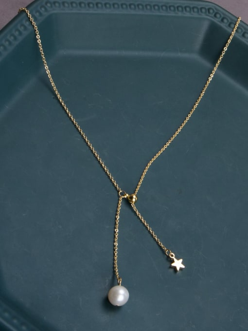RAIN Brass Freshwater Pearl Tassel Minimalist Lariat Necklace 2
